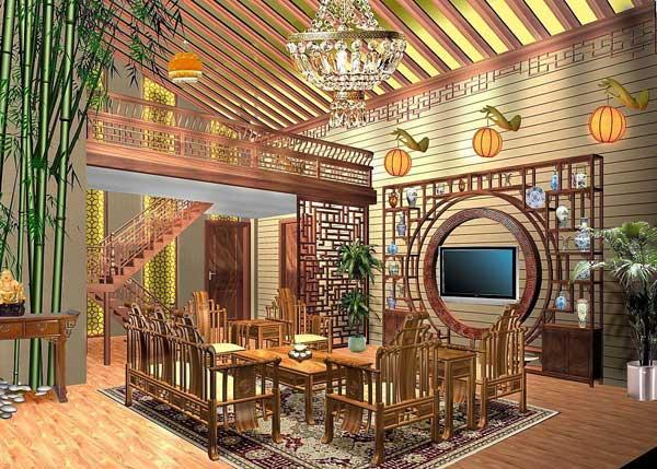 中式仿古装修静谧客厅效果图